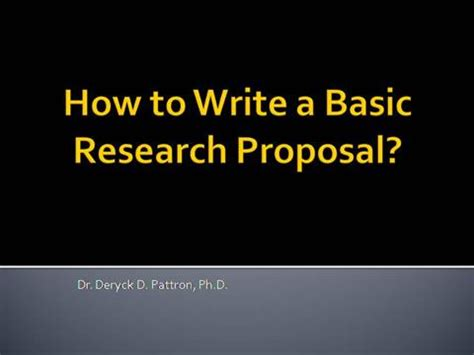 A typical example of a research proposal
